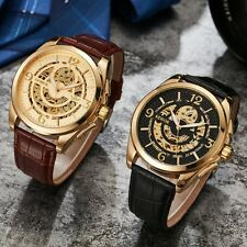 Men's Leather Watch Stainless Case Skeleton Wrist Mechanical Automatic Luxury