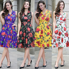 Women's 1950s 60s Vintage Floral Style Rockabilly Party Swing Skater Tea Dress