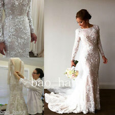 Long Sleeve Sheath Mermaid Applique Wedding Gown White Ivory Elegant Bride Dress