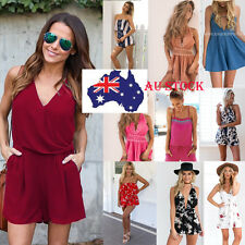 AU Womens Sundress Jumpsuit Playsuit Romper Shorts Overalls Summer Holiday Beach
