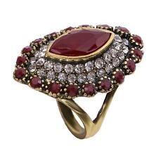 Women's Crystal Vintage Full Colorful Water Simulation Gemstone Finger Rings Red