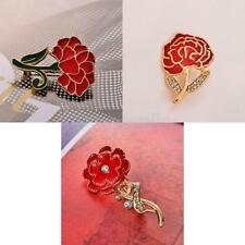 Diamante Crystal Enamel Red Brooch Pin Carnation Flower Mothers Gifts Jewelry