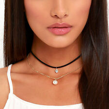 Hot Retro Punk Choker Velvet Chain Pearl Pendant Collar Necklace Gothic Jewelry