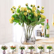 Silk Flowers Artificial Peony Bud 3 Heads Roses Bouquet Wedding Home Decoration