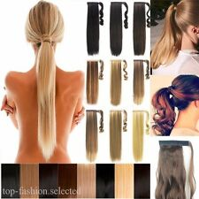 Wrap Around Clip In On Ponytail Hair Extensions Pony Tail Long Curly Straight US