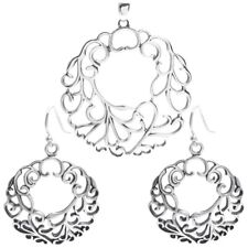 925 Sterling Silver Pretty Cut-Out Swirl Design Round Pendant and Earring Set