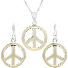 925 Sterling Silver Pastel Yellow Peace Symbol Pendant and Earring Set