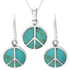 925 Sterling Silver Turquoise Peace Symbol Pendant and Earring Set