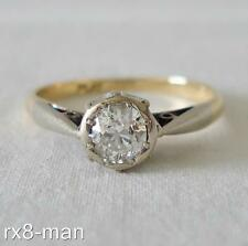 STUNNING 18CT SOLID GOLD & PLATINUM 0.33CT DIAMOND SOLITAIRE ENGAGEMENT RING