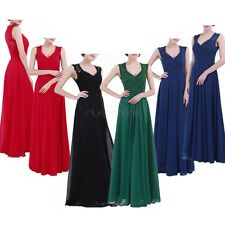 Women Long Evening Party Prom Gown Sleeveless V Neck Bridesmaid Cocktail Dress