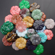 Intriguing 2Pcs/4Pcs Carved Mixed Stone Flower Pendant Bead x81789
