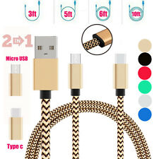 2 in 1 USB2.0 To Micro USB&Type-C 3.1 Y Splitter Braided Rapid Charge Sync Cable