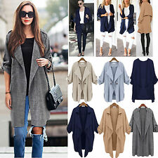 Womens Autumn Waterfall Loose Cardigan Tops Open Front Trench Duster Coat Jacket
