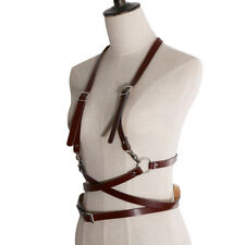 Women Girls Faux Leather Body Suspenders Braces Harness Belt Lightweight Outfit
