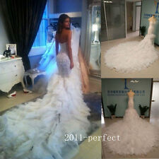 Tiered Train Wedding Dresses White Ivory Mermaid Bridal Gowns With Real Photos