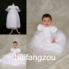 Baptism Vintage Boy Girls Dresses Infant Baby Ivory White Christening Gown 0-18M