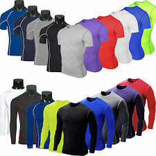 Mens Compression Baselayer Body Armour Thermal Under Skin T-Shirt Tight Tee Tops