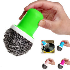 Thboxs Pot Brush Cleaning Round Handle Stainless Steel Scrubbers Tool Utensil