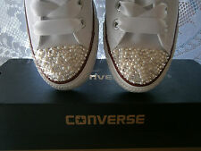 Womens SWAROVSKI crystal & pearl customised bling Converse - All Sizes & Colours