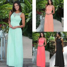 Elegant Womens Lace Chiffon Backless Long Evening Wedding Prom Party Maxi Dress