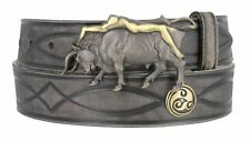"Genuine Leather Tooled Figure8 Belt 1-1/2"" Gray Lady Bull Buckle Celtic Concho"