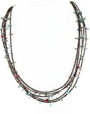 Large $400Tag 5 Strand Silver Navajo Turquoise Coral Native American Necklace