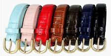 "Women's Skinny Thin Alligator Embossed Genuine Leather Belt 1"" (25mm) Wide"