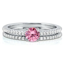 BERRICLE Sterling Silver Round Pink CZ Solitaire Engagement Ring Set 0.655 Carat