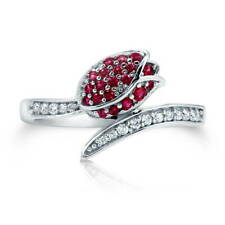 BERRICLE Sterling Silver Cubic Zirconia CZ Wrap Tulip Flower Fashion Ring