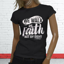 WALK BY FAITH NOT BY SIGHT JESUS GOD RELIGION Womens Black T-Shirt