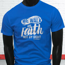 WALK BY FAITH NOT BY SIGHT JESUS GOD RELIGION Mens Blue T-Shirt