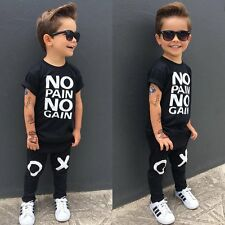 Toddler Baby Boy Hip-Hop Outfits No pain no gain T-shirt Top+Pant Kids's Clothes