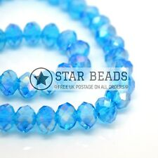 FACETED RONDELLE CRYSTAL GLASS BEADS AQUAMARINE AB 4MM,6MM,8MM,10MM