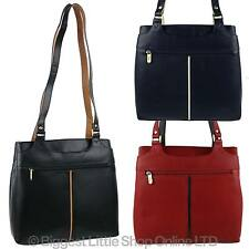 NEW Ladies Soft LEATHER Two-Tone Shoulder Handbag by GiGi Othello Collection Bag