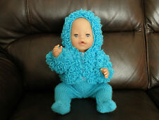 Hand Knitted Outfit to fit 16 inch Doll in Turquoise