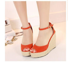 Womens Bohemia High Heel Wedge Buckle Sandal Platform Open Toe Strappy Shoes New