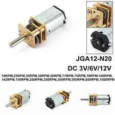 DC 12V/6V/3V 19-1000RPM Mini Metal Gear Box Motor w Gearwheel Shaft Diameter N20
