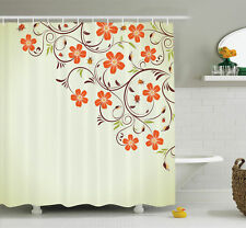 Ambesonne Floral Ladybugs Flowers Spring Shower Curtain Set