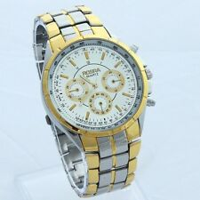 Fashion White Gold Dial Men Stainless Steel Quartz Luxury Sport Wristwatch NG09