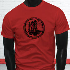 RODEO COWBOY BOOTS BLACK COUNTRY WESTERN COWGIRL Mens Red T-Shirt