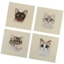 Retro Cats Pattern Hand Cloth Cotton Hand Dyed DIY Fabric Sewing Crafts 15x15cm