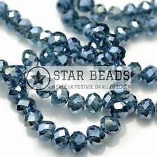 FACETED RONDELLE CRYSTAL GLASS BEADS 6MM,8MM,10MM - MONTANA (HALF AB)