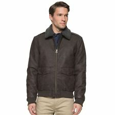 New Mens Dockers Brown Classic Bomber Jacket Faux Fur Collar Retail $180