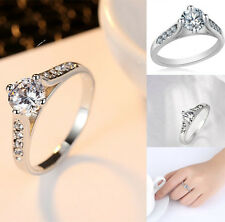 Women 925 Sterling 18K Gold Plated Ring Wedding Engagement Princess Lover Rings