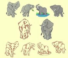 Elephants Machine Embroidery CD-20 Designs+ Redwork-by Anemone Embroidery