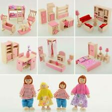 Kid Pink Wooden Furniture Dolls House Miniature 6 Room Set Doll For Xmas Gift SP