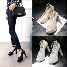 Fashion Womens sandals Ankle buckle mesh High heel Sexy open toe shoes Plus size