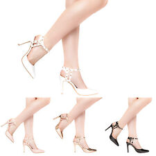 NEW WOMENS LADIES ROCK STUD ANKLE STRAP HIGH STILETTO HEEL POINTY SANDALS SHOES