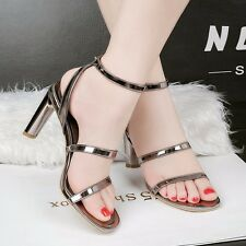 Elegant Open Toe Ankle Strap Buckle SandalsBlock Heels OL Banquet Women Shoes