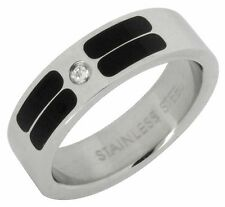 Striped Stainless Steel Band Wedding Ring Solitaire CZ Comfort Fit 6mm Mens